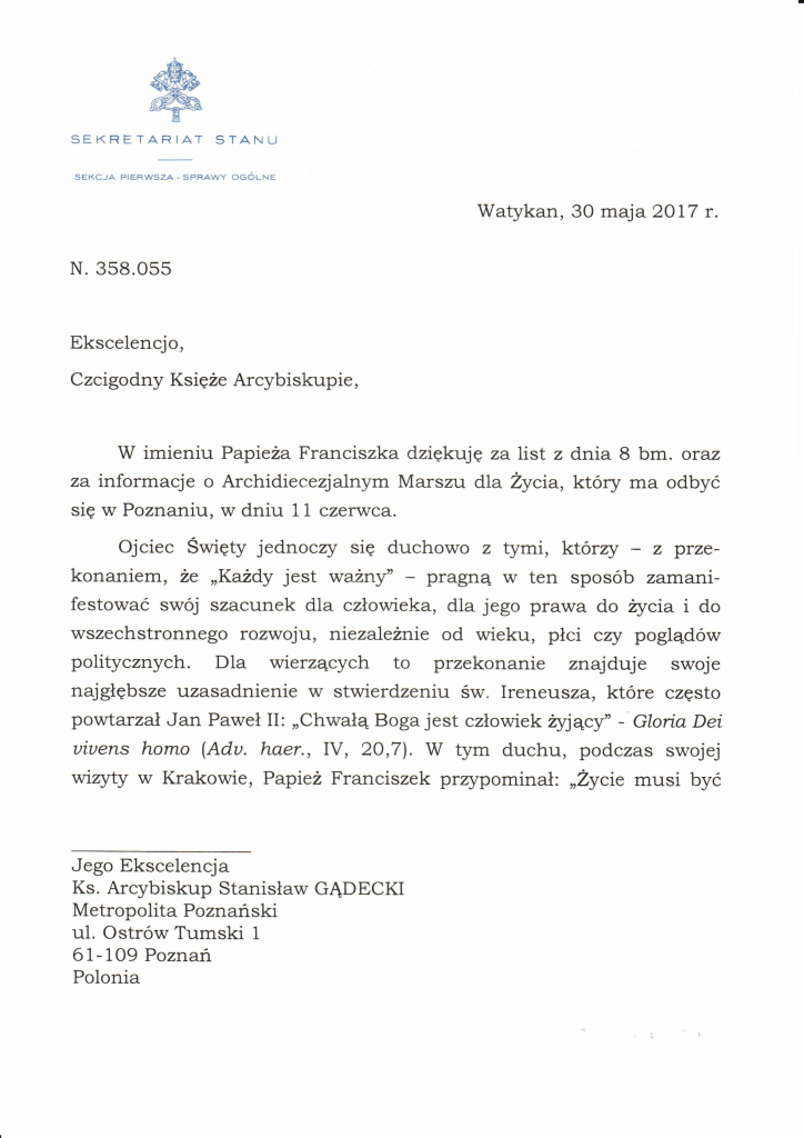 Pozdrowienie od Papieża Franciszka